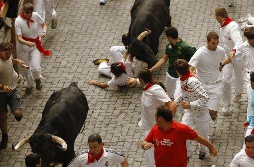 Erste Stierhatz des Jahres in Pamplona