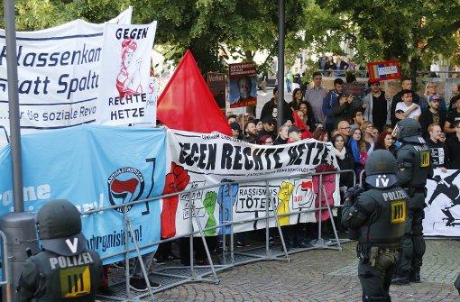 Die Gegendemonstranten waren bei der Demo deutlich in der Überzahl. Foto: Nick Santelli