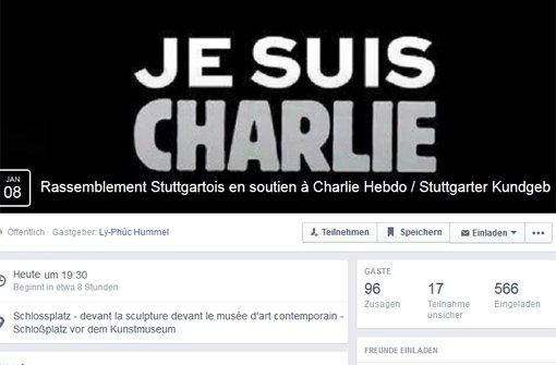 Je suis Charlie: Am Donnerstagabend treffen sich auf dem Schlossplatz in Stuttgart Menschen, um nach dem schrecklichen Anschlag auf das französische Satiremagazin Charlie Hebdo für Meinungsfreiheit und gegen Fundamentalismus zu demonstrieren. Foto: Facebook-Screenshot