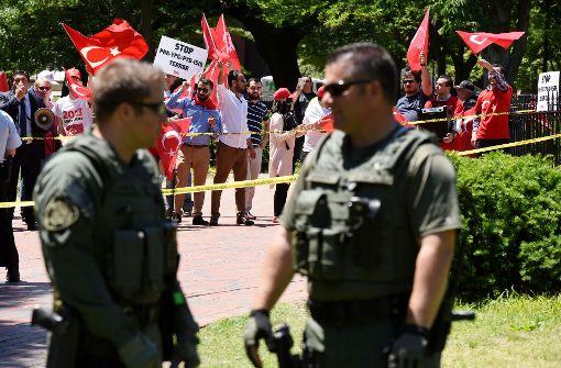 Rund um den Besuch von Recep Tayyip Erdogan in Washington kam es zu Protesten. Foto: AFP