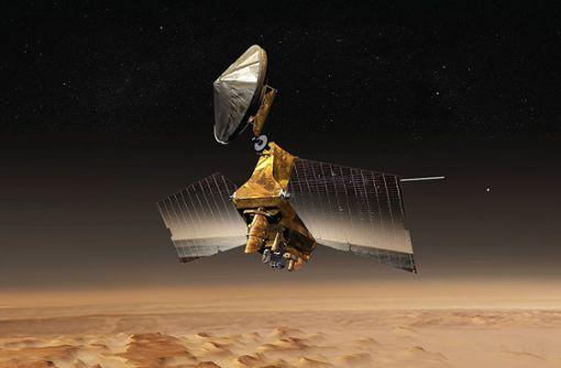 Der Mars Reconnaissance Orbiter (hier eine Computersimulation) ist eine NASA-Raumsonde, die 2005 zum Roten Planeten aufbrach und seitdem dessen Oberfläche erforscht. Foto: Wikipedia commons/ASA/JPL/Corby Waste