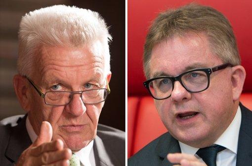 Der amtierende Ministerpräsident Winfried Kretschmann (Grüne) und sein Herausforderer Guido Wolf (CDU). Foto: dpa
