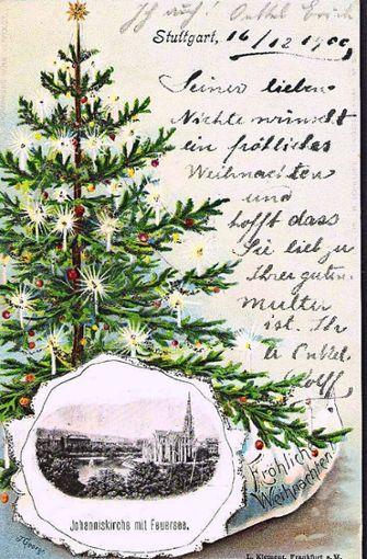 Auf diese Karte von 1900 mit der Johanneskirche am Feuersee  wurde Glitzer gedruckt.  Foto: Sammlung Wolfgang Müller