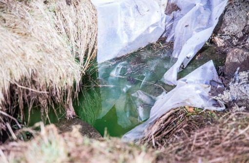 Die grüne Flüssigkeit in der Lein entpuppt sich als Färbemittel Uranin. Foto: SDMG