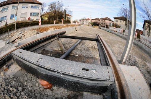 Die Bauarbeiten für die Stadtbahnlinie U 12 an der Löwentorstraße sind inzwischen in der Halbzeit. Foto: Michele Danze