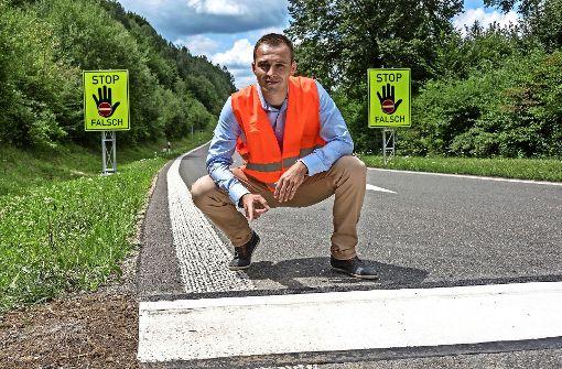 Testlauf in Baden-Württemberg: Polizist erfindet neue Fahrbahnmarkierung gegen Geisterfahrer