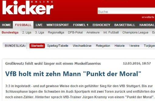 Vom gefühlten Sieg für den VfB Stuttgart spricht der Kicker.  Foto: Screenshot